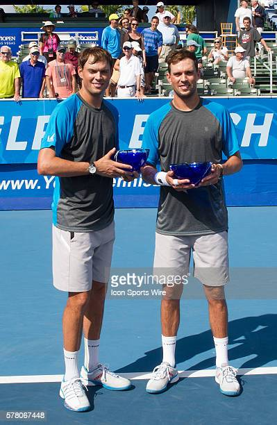Delray Beach, FL - February 22 2015: Bob and Mike Bryan defeat Leander Paes /Raven Klassen 63 36 10-6 to win the doubles championship at The Delray...