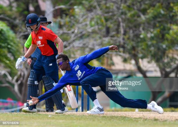 Delray Rawlins of South fielding as Joe Clarke of North looks on during the ECB North v South Series match Three at 3Ws Oval on March 23 2018 in...