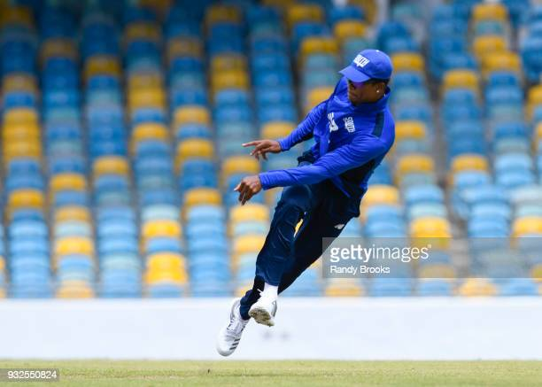 Delray Rawlins of South fielding during the ECB North v South Series warm up game between South and Barbados XI at Kensington Oval at on March 15...