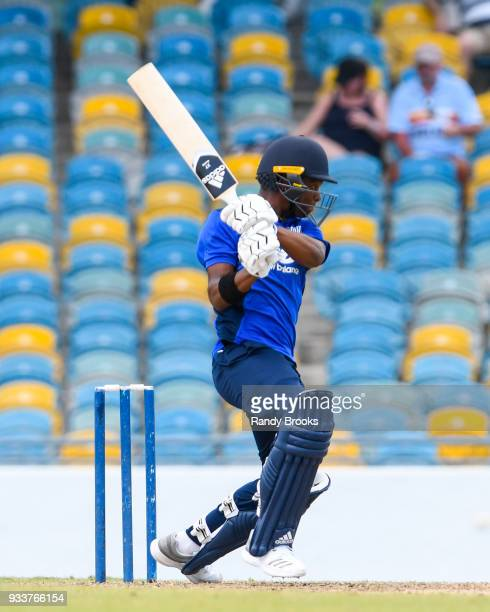Delray Rawlins of South hits 4 during the ECB North v South Series match One at Kensington Oval on March 18 2018 in Bridgetown Barbados