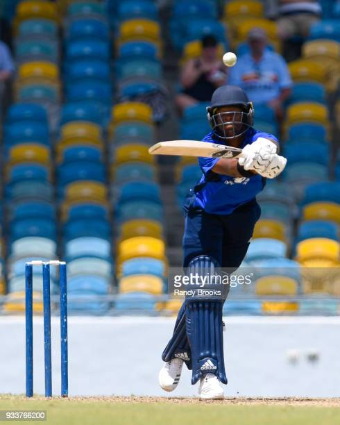 Delray Rawlins of South hits 6 during the ECB North v South Series match One at Kensington Oval on March 18 2018 in Bridgetown Barbados