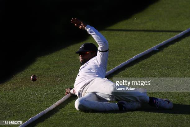 Delray Rawlins of Sussex attempts to catch the ball on the boundary during the LV= Insurance County Championship match between Sussex and Lancashire...