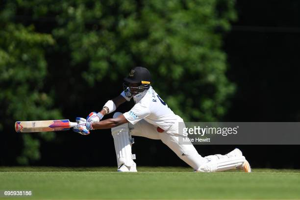 Delray Rawlins of Sussex attempts to sweep during a Tour Match between Sussex and South Africa A at Arundel Castle on June 14 2017 in Arundel England