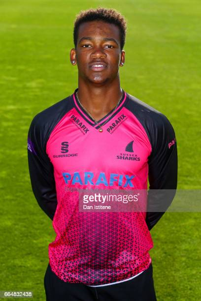 Delray Rawlins of Sussex CCC poses in the club's one day kit during the Sussex CCC photcall at The 1st Central County Ground on April 5 2017 in Hove...