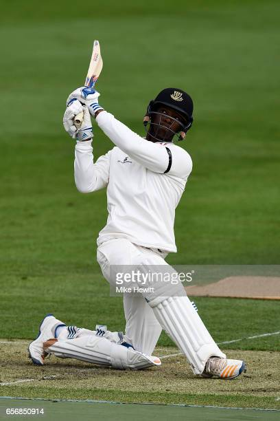 Delray Rawlins of Sussex hits a six during a friendly match between Sussex and Surrey at The 1st Central County Ground on March 23 2017 in Hove...