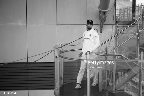 Delray Rawlins of Sussex walks out to field during the LV= Insurance County Championship match between Sussex and Lancashire at Emirates Old Trafford...