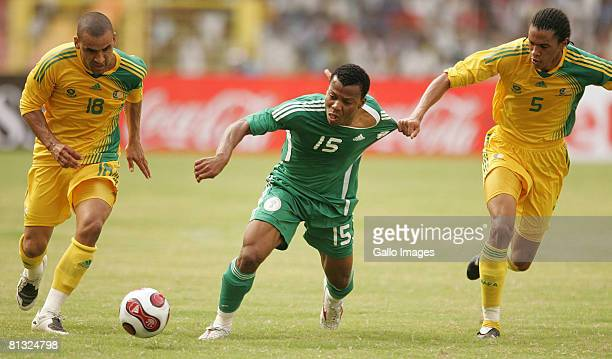 Delron Buckley of South Africa Uche Ikechukwu of Nigeria and Bevan Fransman of South Africa in action during the AFCON and 2010 World Cup Qualifier...