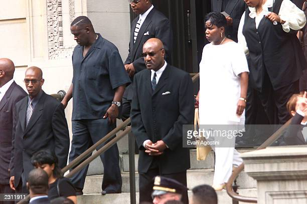 Delroy Lindo leaving R B singer Aaliyah's memorial service at St Ignatius Loyola Roman Catholic Church in New York City 8/31/2001 Photo Evan...
