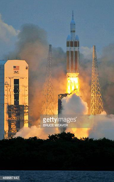 A Delta 4 rocket lifts off from from Cape Canaveral Florida on December 5 2014 carrying NASA's Orion spacecraft on its first test flight The Orion...