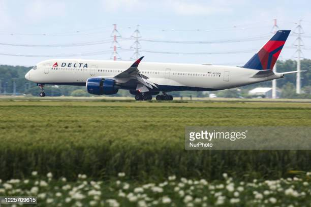 Delta Air Lines Airbus A350-900 aircraft as seen on final approach landing at Amsterdam Schiphol AMS EHAM airport in the Netherlands. The Delta...