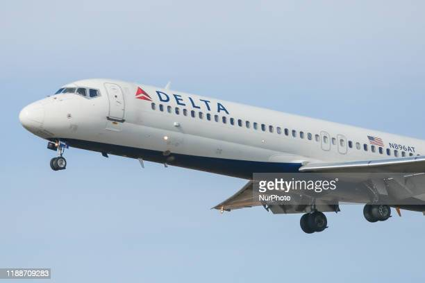 Delta Air Lines Boeing 717200 airplane as seen on the final approach landing at New York JFK John F Kennedy International Airport NYC USA The...