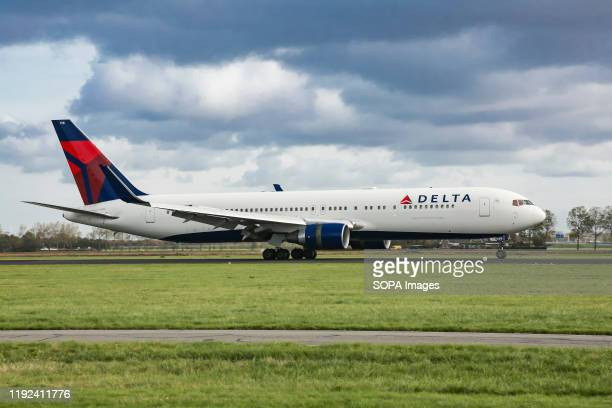 Delta Air Lines Boeing 767 aircraft at Amsterdam Schiphol Airport.