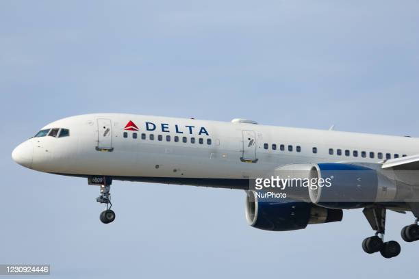 Delta Air Lines Bombardier Boeing 757-200 aircraft as seen arriving, on final approach for landing in New York JFK John F. Kennedy International...