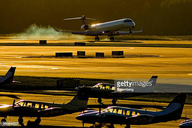 Delta Air Lines Bombardier Canadair CL600-2D24 jet lands at Raleigh-Durham International Airport in Raleigh, North Carolina, U.S., on Friday, Nov. 6,...