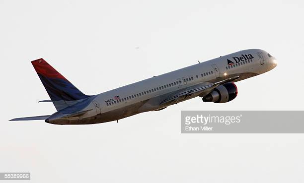 Delta Air Lines jet takes off at McCarran International Airport September 12 2005 in Las Vegas Nevada Delta's stock plunged more than 22% to an...