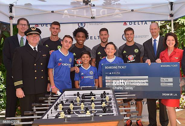Delta Air Lines' Phil Lindsey Delta Air Lines Brand Ambassador Boyd Kelly Chelsea Football Club's Matt Miazga Willian Eden Hazard and Cesar...