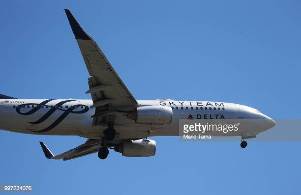 Delta Air Lines plane lands at Los Angeles International Airport on July 12 2018 in Los Angeles California Delta announced today that it will...