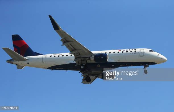 Delta Air Lines plane lands at Los Angeles International Airport on July 12, 2018 in Los Angeles, California. Delta announced today that it will...