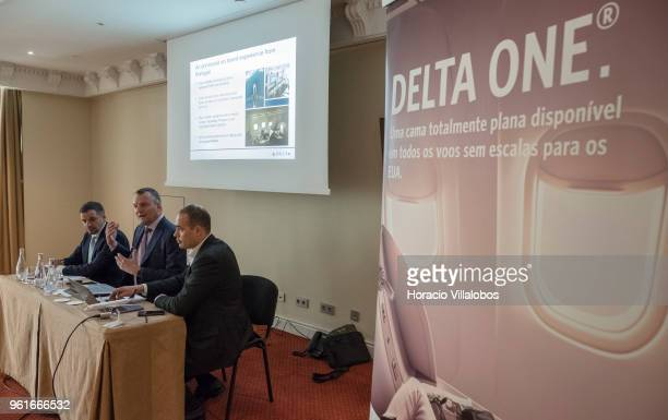 Delta Air Lines senior vicepresident EMEAI Corneel Koster and and Delta regional sales manager for South Europe Frederic Schenk talk to journalists...