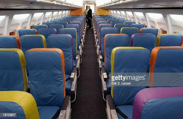 Delta Air Lines unveils its new lowfare airline Song's Boeing 757 interior April 10 2003 at Hartsfield Atlanta International Airport in Atlanta...
