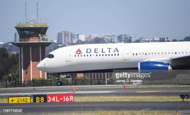 Delta airline flight prepares to depart Sydney's Kingsford Smith airport on January 22, 2021 in Sydney, Australia. Prime Minister Scott Morrison has...