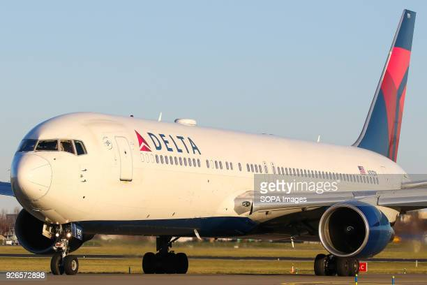 Delta Airlines 767300 seen on its way to the active runway at Schiphol airport