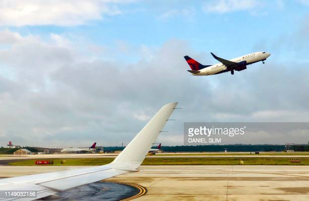 Delta Airlines airplane takes off from Atlanta International Airport, Georgia on June 10, 2019.