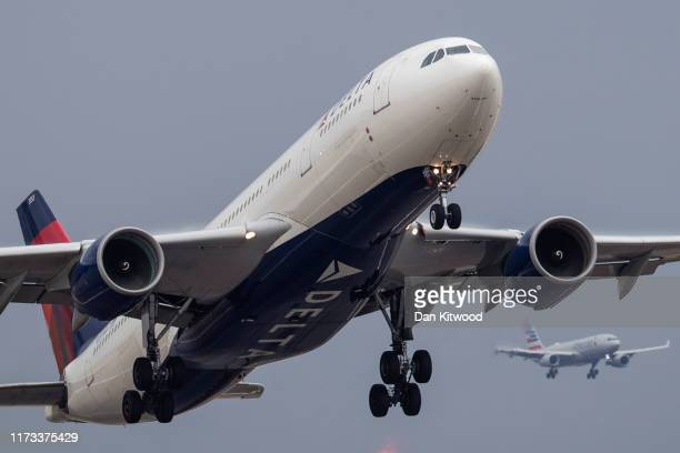 Delta Airlines and American Airlines flights comes in to land at Heathrow on September 9, 2019 in London, England. British Airways pilots have begun...