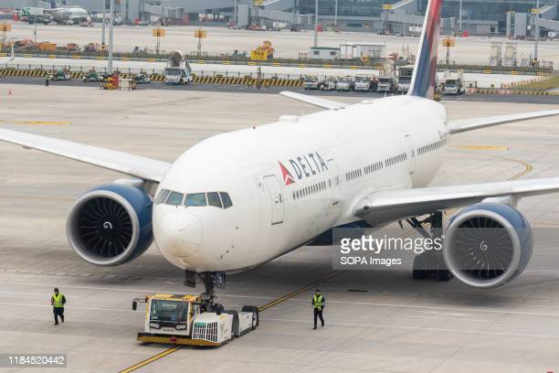 Delta Airlines Boeing 777-200LR aircraft seen at Shanghai Pudong International Airport.