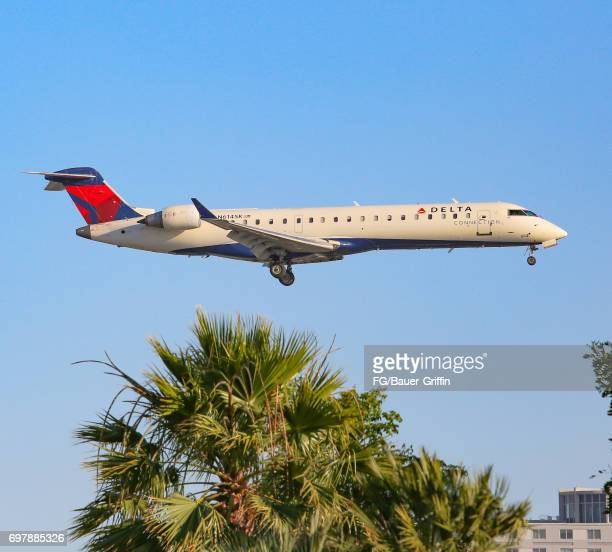 Delta Airlines Embraer 175 arrives at Los Angeles International Airport on June 18 2017 in Los Angeles California