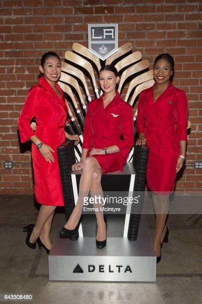 Delta Airlines flight attendants attend 'Fans go all access with Delta Kings Class LA Kings alumni Jarret Stoll Derek Armstrong Jaroslav Modry and...
