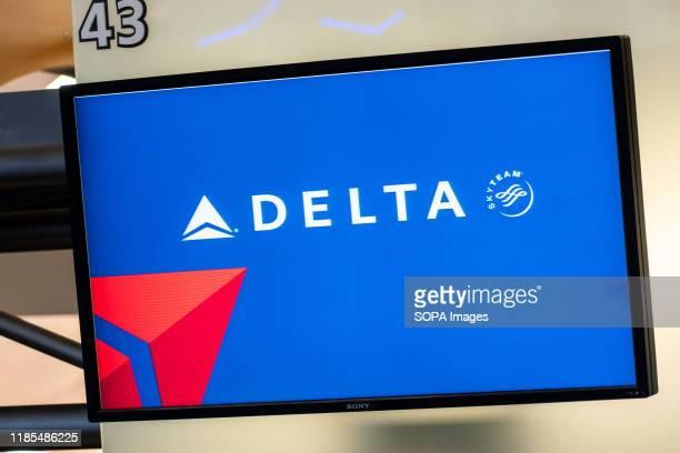 Delta Airlines logo seen at Hartsfield-Jackson Atlanta International Airport.