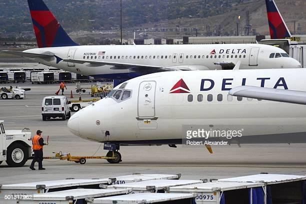 Delta Airlines passenger planes at Salt Lake City International Airport in Salt Lake City Utah