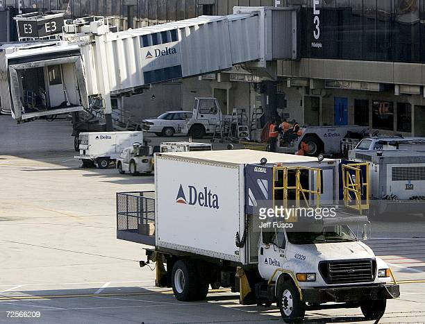 Delta Airlines truck sits at the terminal at the Philadelphia International Airport November 15 2006 in Philadelphia Pennsylvania US Airways Group...