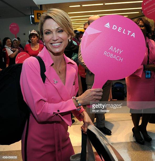 """Delta Charters """"Breast Cancer One"""" Flight With Good Morning America's Amy Robach at JFK Airport on September 30, 2014 in New York City."""