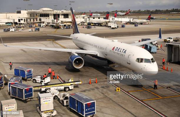 Delta flight arrives at LAX Terminal 2 on May 31 2018 at the beginning of a press conference to announce that Delta Air Lines and Los Angeles World...