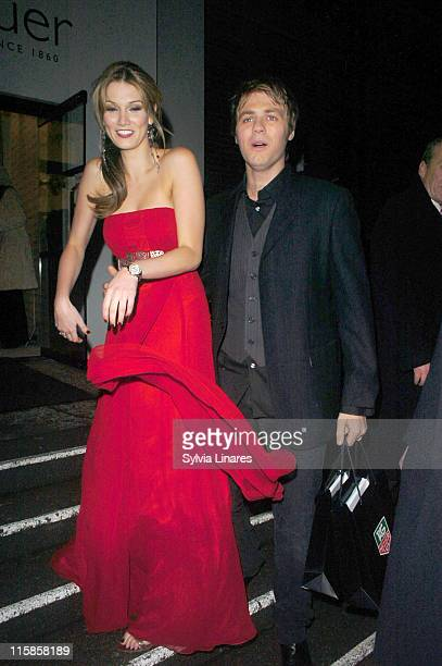 Delta Goodrem and Brian McFadden during TAG Heuer Strength Beauty Exhibition Opening Night Party at Royal College of Arts Kensington in London Great...