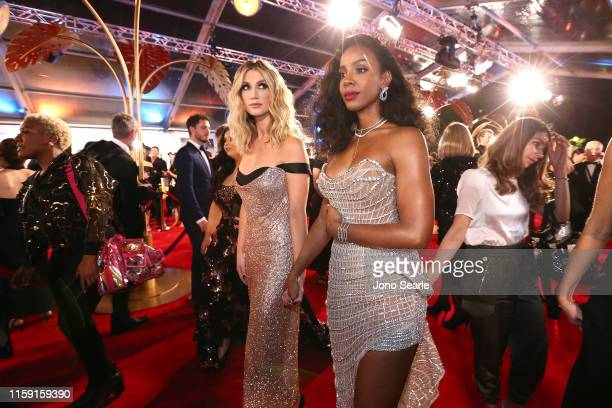 Delta Goodrem and Kelly Rowland of The Voice arrives at the 61st Annual TV WEEK Logie Awards at The Star Gold Coast on June 30, 2019 on the Gold...