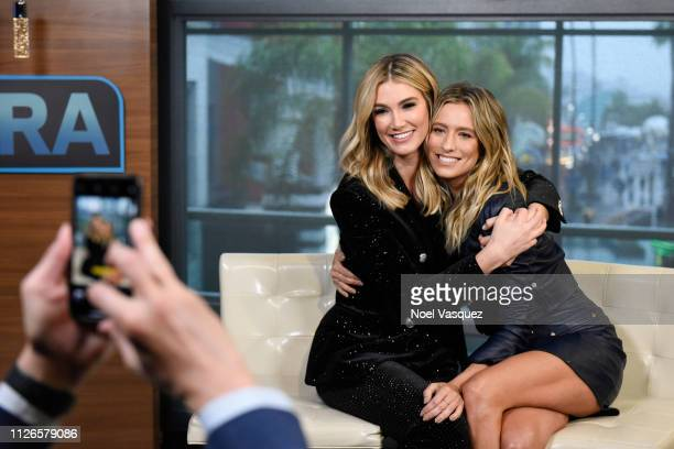 Delta Goodrem and Renee Bargh visit Extra at Universal Studios Hollywood on January 31 2019 in Universal City California