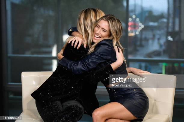Delta Goodrem and Renee Bargh visit 'Extra' at Universal Studios Hollywood on January 31 2019 in Universal City California