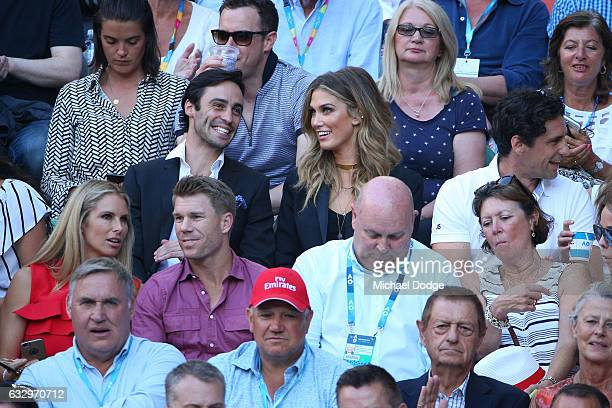 Delta Goodrem Andy Lee Candice Warner and David Warner watch the Men's Final match between Roger Federer of Switzerland and Rafael Nadal of Spain on...