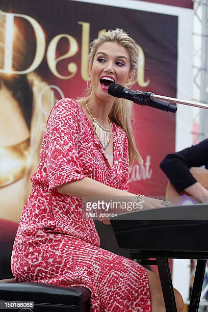 Delta Goodrem at an instore signing and performance at Lakeside Joondalup Shopping City on August 12 2012 in Perth Australia