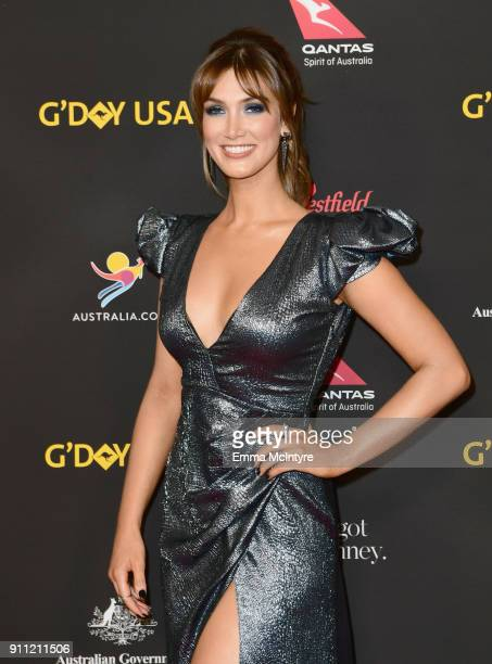 Delta Goodrem attends 2018 G'Day USA Los Angeles Black Tie Gala at InterContinental Los Angeles Downtown on January 27 2018 in Los Angeles California