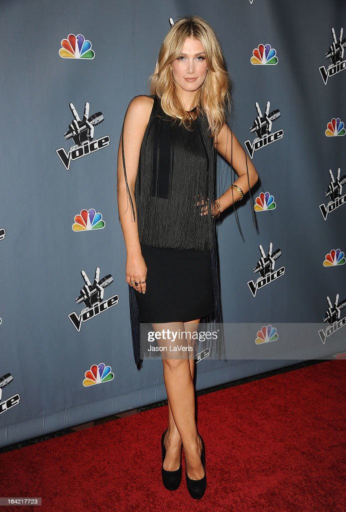 Delta Goodrem attends NBC's 'The Voice' season 4 premiere at TCL Chinese Theatre on March 20, 2013 in Hollywood, California.