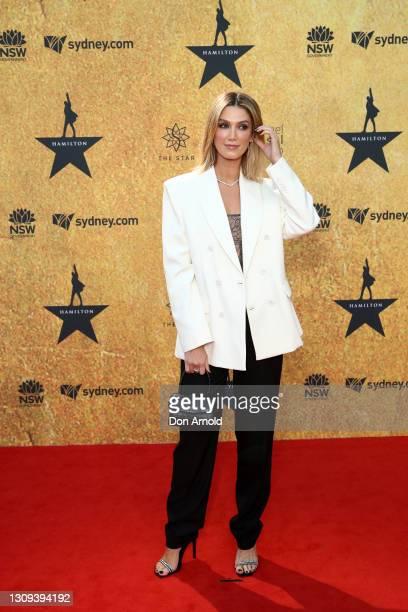 Delta Goodrem attends the Australian premiere of Hamilton at Lyric Theatre, Star City on March 27, 2021 in Sydney, Australia.
