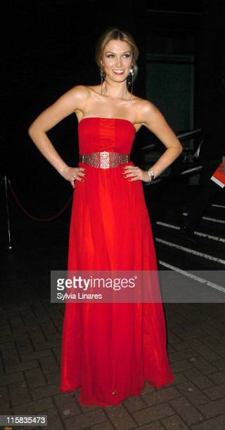 Delta Goodrem during TAG Heuer Strength Beauty Exhibition Opening Night Party at Royal College of Arts Kensington in London Great Britain