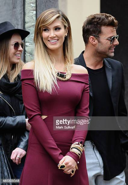Delta Goodrem during The Voice top four live pop up show at Museum of Sydney on August 27 2015 in Sydney Australia