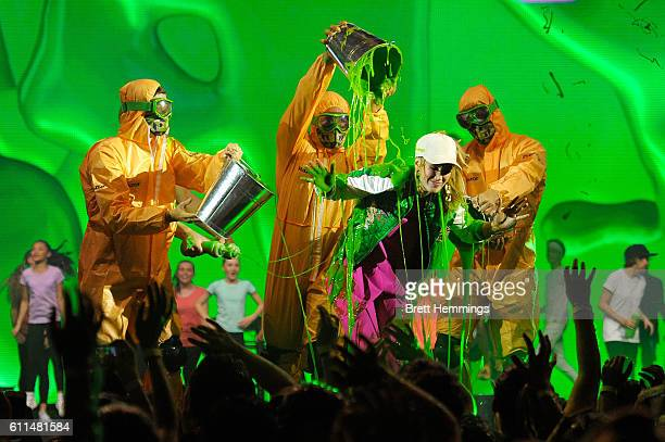 Delta Goodrem is slimed during the Nickelodeon Slimefest 2016 matinee show at Sydney Olympic Park Sports Centre on September 30 2016 in Sydney...