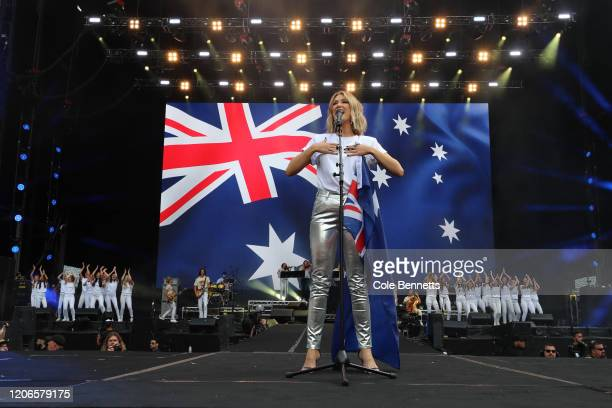 Delta Goodrem performs during Fire Fight Australia at ANZ Stadium on February 16 2020 in Sydney Australia
