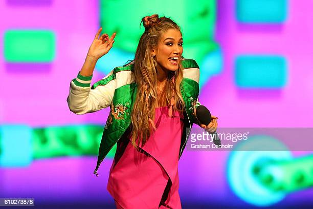 Delta Goodrem performs during the Nickelodeon Slimefest 2016 matinee show at Margaret Court Arena on September 25 2016 in Melbourne Australia